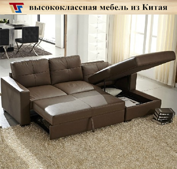 Real leather brown corner sofa bed sleeper couch mechanism ...