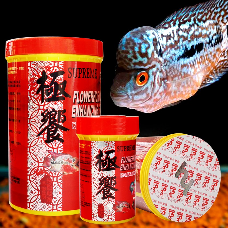 SUPREME Fish Feed For FlowerhornRed parrot Angel Fish Brightening And Brightening Stabilize Head Balanced Nutrition Digestion