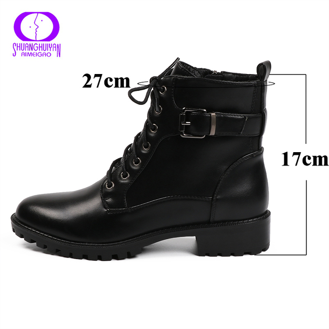 European Style Black Ankle Boots Flats Round Toe Black Zip Martin Boots PU Leather Woman Shoes With Warm Plush 4