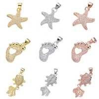 Juya collier pendentif à assembler soi-même Bracelets faisant des composants Micro pavé Zircon or/argent/or Rose fournitures de pendentifs à breloque d'étoile de mer