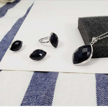 Ruifan High Quality Blue Sandstone Crystal Jewelry Sets 100% 925 Sterling Silver Necklace/Earrings/Ring Women Set YJS026