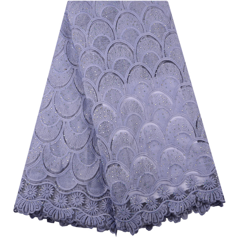 High Quality Grey Nigerian Lace Fabrics 2018 With Stones African Lace Fabric Embroidered Tulle Mesh French Lace Fabric A1436 image