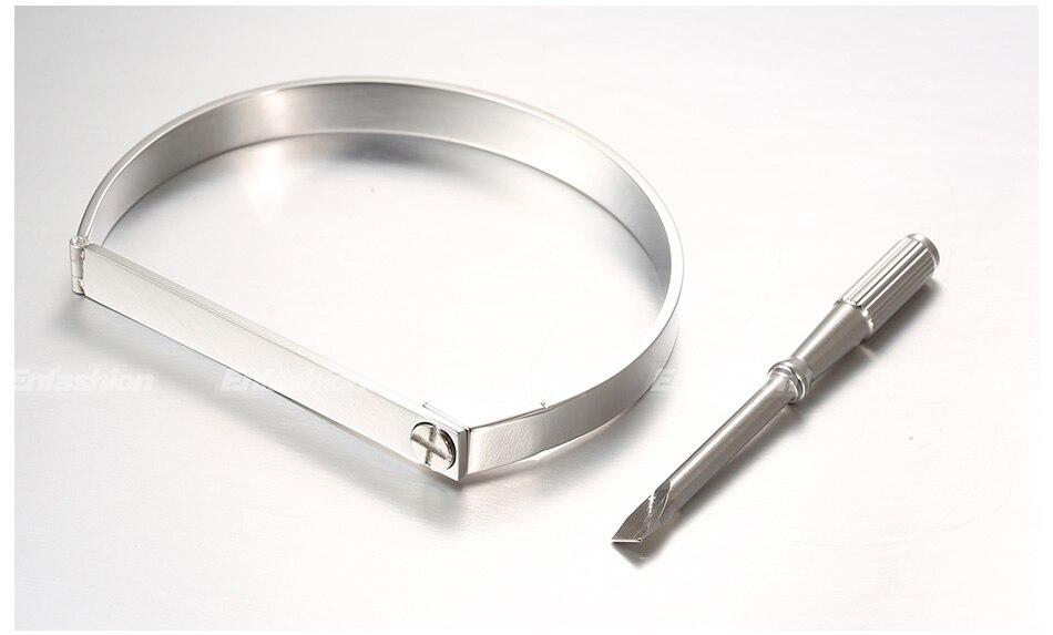 Enfashion Personalized Engraved Name Bracelet Gold Color Bar Screw Bangle Lovers Bracelets For Women Men Cuff Bracelets Bangles 22