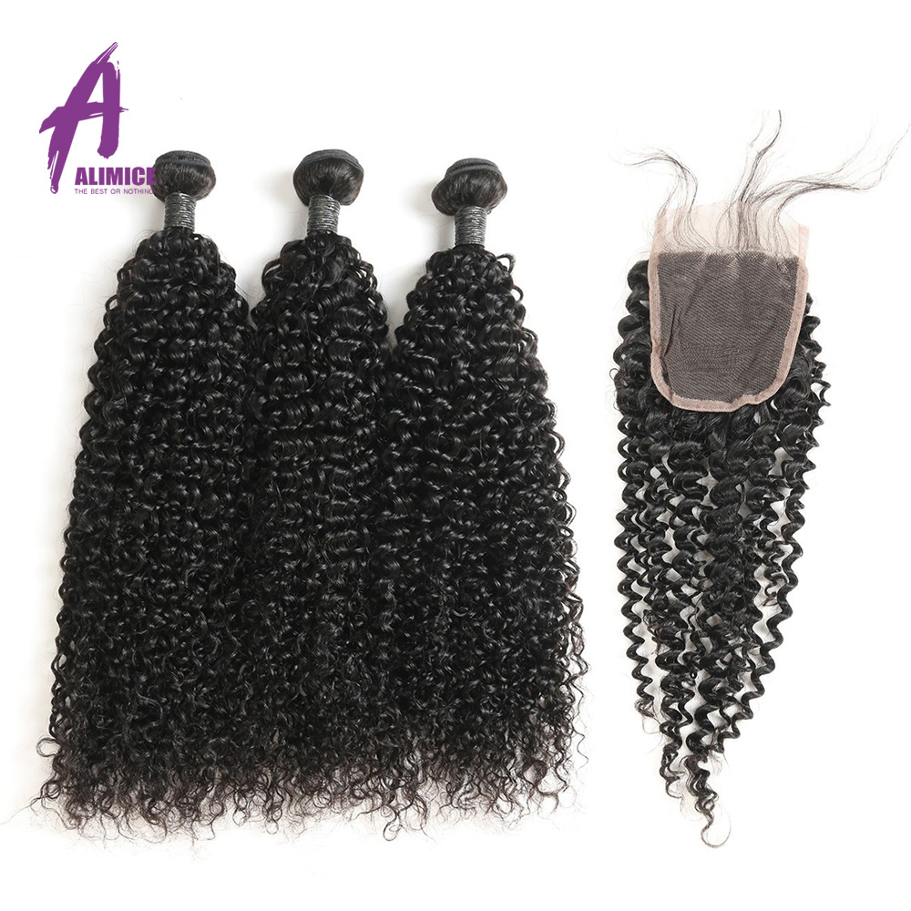 Alimice Hair Brazilian Hair Weave 100 Human Hair Kinky Curly 3 Bundles With Closure Remy Hair