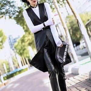 Image 2 - High street Nero genuino giubbotto di pelle vera pelle di agnello in pelle lungo cappotto di trincea femme veste chalecos mujer colete gilet LT1905