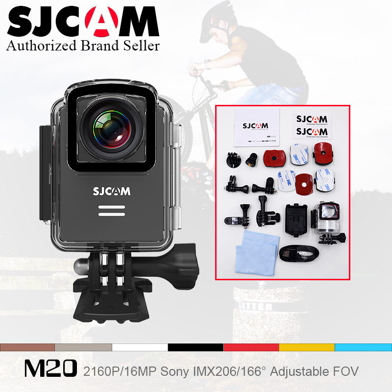 Original SJCAM M20 Gyro Mini Action Helmet Sports DV Camera SJ CAM Waterproof 4K 24fps 2K 30fps NTK96660 16MP With RAW Format cheerson cx 20 cx20 rc quadcopter original parts sports hd dv camera 12 0mp