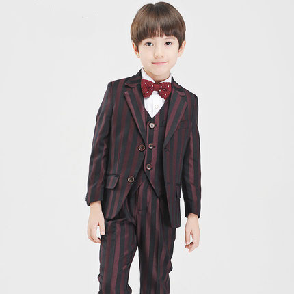 (Jackets+Pant+BowTie+Shirt+Vest) Boy Suits Flower girl Slim Fit Tuxedo Brand Fashion Bridegroon Dress Wedding Stripe Suit Blazer