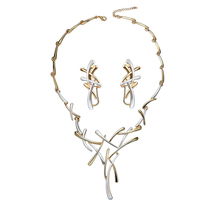 Womens Two-Tone Cross Fashion Gold & Silver Color Necklace Earrings Jewelry Set Artistic Luxurious Charm Woman