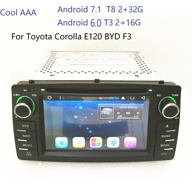 2din android 6.0 7.1 Car DVD  GPS Navigation For BYD F3 Toy ota Corolla E120 2003 2004 2005 2006 with Bluetooth Radio free map