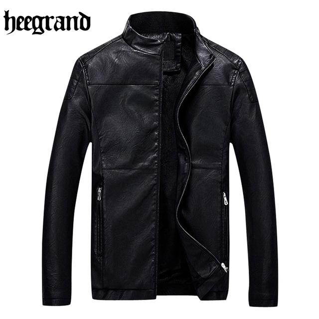 HEE GRAND 2017 Europe Style Casual Outerwear Suede Leather Jacket M-3XL Men Winter PU Leather Jackets MWP408