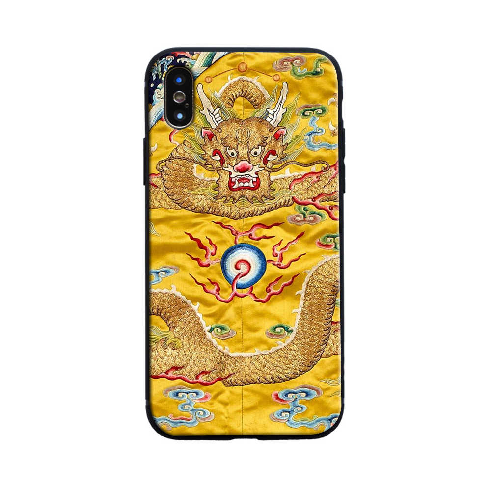 Gaya Cina Naga Coque Silicone Mobile Phone Case Cover Shell untuk Apple Iphone 5 5s Se 6 6 S 7 8 Plus X XR X Max Kasus