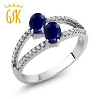 2 61 Ct Oval Blue Sapphire 925 Sterling Silver Ring