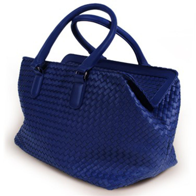 Women's Double Top Handle Woven Leather Retangular Brick Bag Travel Commuter's Handbags New Fashion