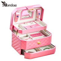 Portable Leather Jewelry Storage Box Fashion Jewelry Display Organizer Earrings Necklace Packing Box Jewellery Holder Gifts