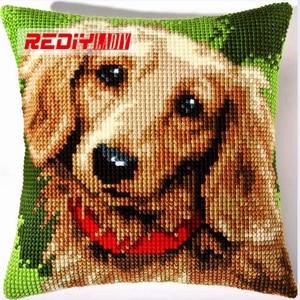 Наволочка для вышивки крестом REDIY TECKEL, наволочка для подушки из акриловой пряжи, наборы для вышивки крестиком, предварительно напечатанные ...
