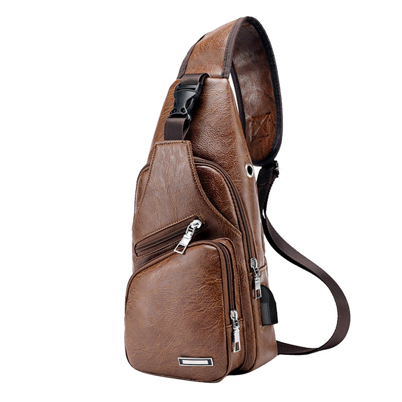 Puimentiua Chest Bag Men PU Leather Chest Pack USB Backbag With Headphone Hole Functional Travel Organizer Male Sling Waist Bag
