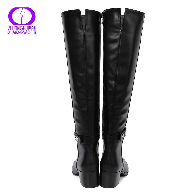 AIMEIGAO diz Yüksek Kış Kürk Botları Diz Kadınlar Üzerinde Çizmeler Yumuşak Deri Fermuar Kadın Botları Uyluk Yüksek Kış sıcak ayakkabı