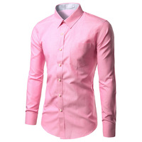 100 Cotton Men S Dress Shirt 2017 Hot Men S Slim Fit Long Sleeve Shirts Chemise