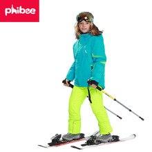 Лыжный комплект для девочек; плотная Теплая Лыжная куртка и брюки для мальчиков; Верхняя одежда для детей; зимняя одежда для маленьких девочек; ветрозащитный Детский костюм для сноуборда