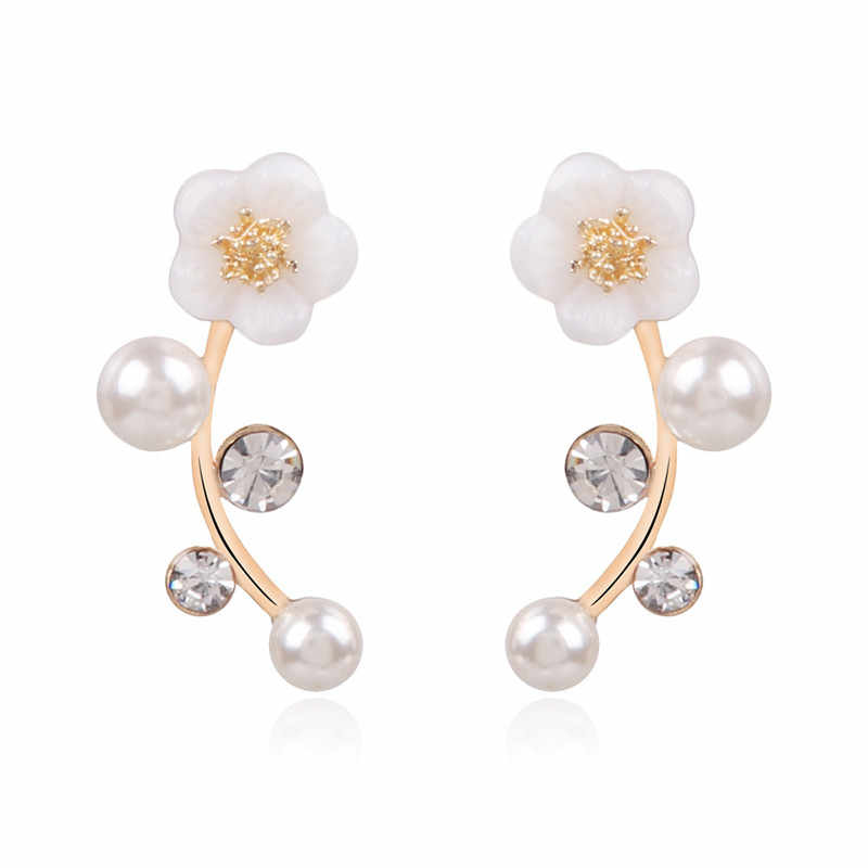 GS 2018 新ファッションクリスタルイヤリング Pendientes 女性のための真珠女性支店シェルパールフラワードロップピアス女性ギフト R4