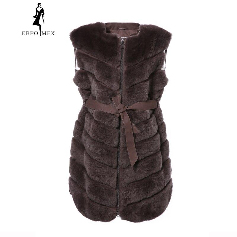 Dernière Femmes Réel D hiver De Brown Gilet Véritable Long Couleur Fourrure  Naturelle Rex Mode Lapin Manteau Nouvelles 2018 Veste 50Ywqx1R 40f780312a3