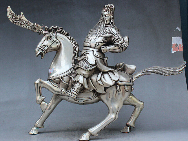 decoration brass factory outlets Tibet Silver Chinese Fengshui Silver Riding Horse Guan Gong Yu Warrior God Grip Knife Statue