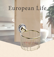 Wholesale And Retail Golden Wall Mounted Bathroom Accessories Paper Holders Bathroom Basket Tissue Holder Free Shipping