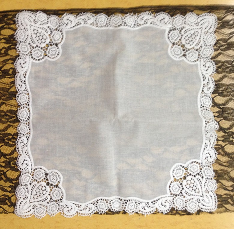 Decorated With An Ornate Drawnwork Style White Cotton Women Handkerchiefs 12PCS/Lot 12x12