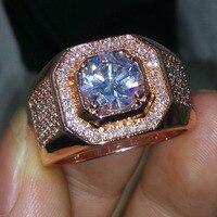 Thời trang Jewelry Solitaire người đàn ông nhẫn 3Ct Cz 5A Zircon đá Rose Gold 925 Sterling Silver Engagement Wedding Nhạc Chuông cho người đàn ông