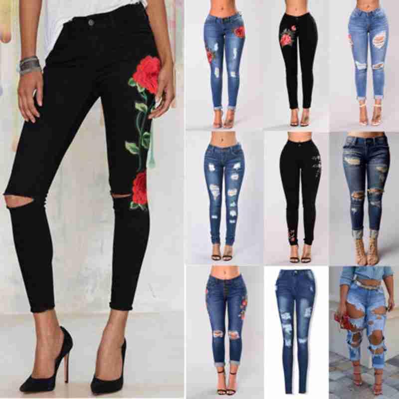 dcc046cf68a Модные женские туфли Повседневное Высокая Талия рваные джинсы с цветочной  вышивкой узкие стрейч брюк