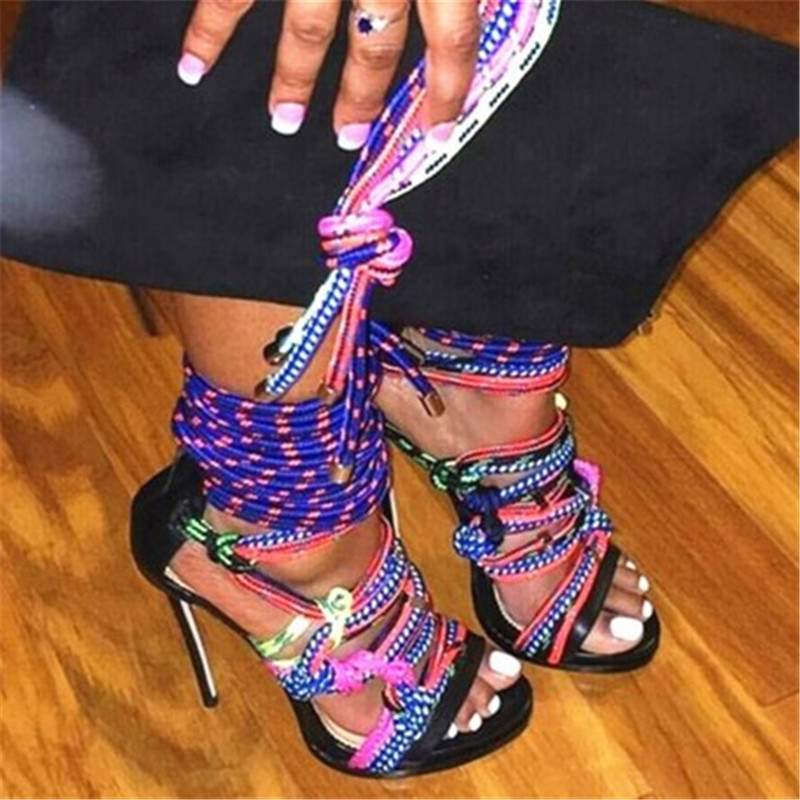Fashion Rope Cross-tied Gladiator Summer Sandals Mixed Colors Peep Toe High Heels Shoes Women Strappy Strip Sandals Mujer 2018Fashion Rope Cross-tied Gladiator Summer Sandals Mixed Colors Peep Toe High Heels Shoes Women Strappy Strip Sandals Mujer 2018