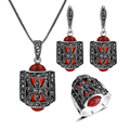 2016 New Color Red Resin And Black Rhinestone Vintage Jewelry Necklace Set Antique Silver Plated Women Jewellery Sets