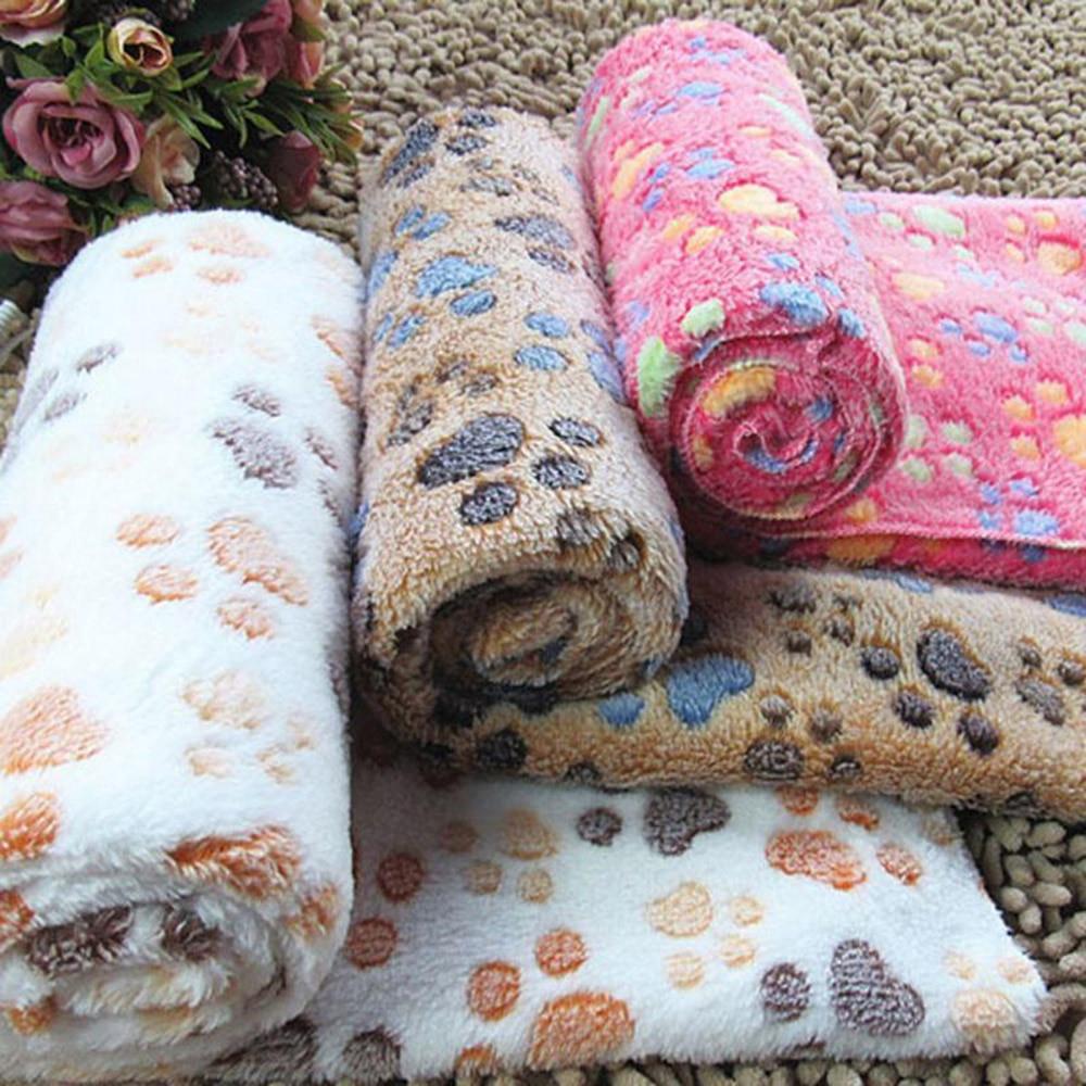 Comfortable Pet Bed Mats Sleep Flora Paw Print Dog Cat Puppy Fleece Soft Blanket Pet Dog Beds Mat For Pet Cat Small Dog Supplies (5)