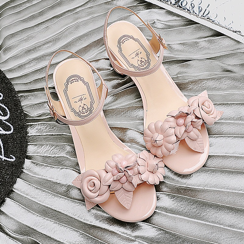 Free Shipping Women Fashion Square Heel Sandals Women Geniune Leather Thick Heel Pink Pumps Open Toe Shoes For Lady