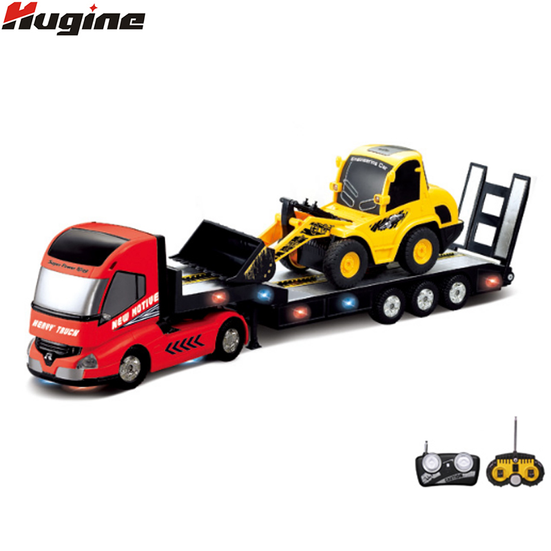 RC Truck Trailer Multi-Function Vehicle+Remote Control Bulldozer Platform Trailer Auto Tail Board Electronic Truck Hobby Toys large detachable remote control trailer big size fun 1 28 multifuncional rc farm trailer tractor truck free shipping