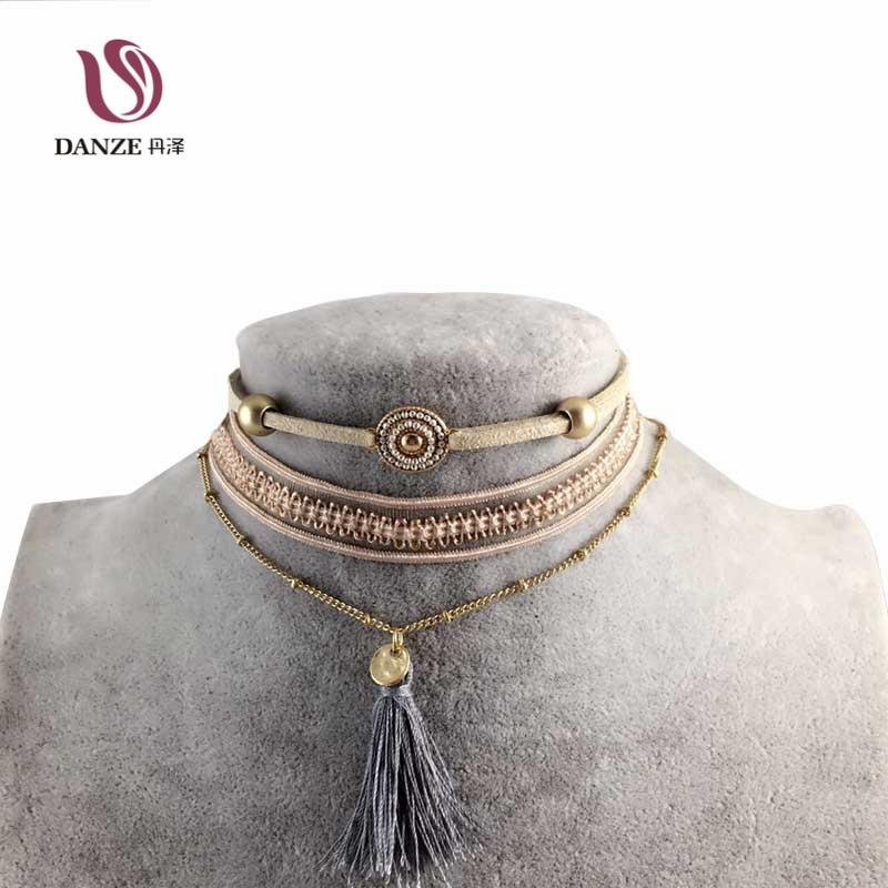 3 db / tétel Bohemia hosszú tassel Choker nyaklánc készlet nők - Divatékszer