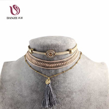 3 Pcs/lot Bohemia Long Tassel Choker Necklace Sets for Women Brown Mesh Necklaces & Pendants Collares Mujer Party Jewelry