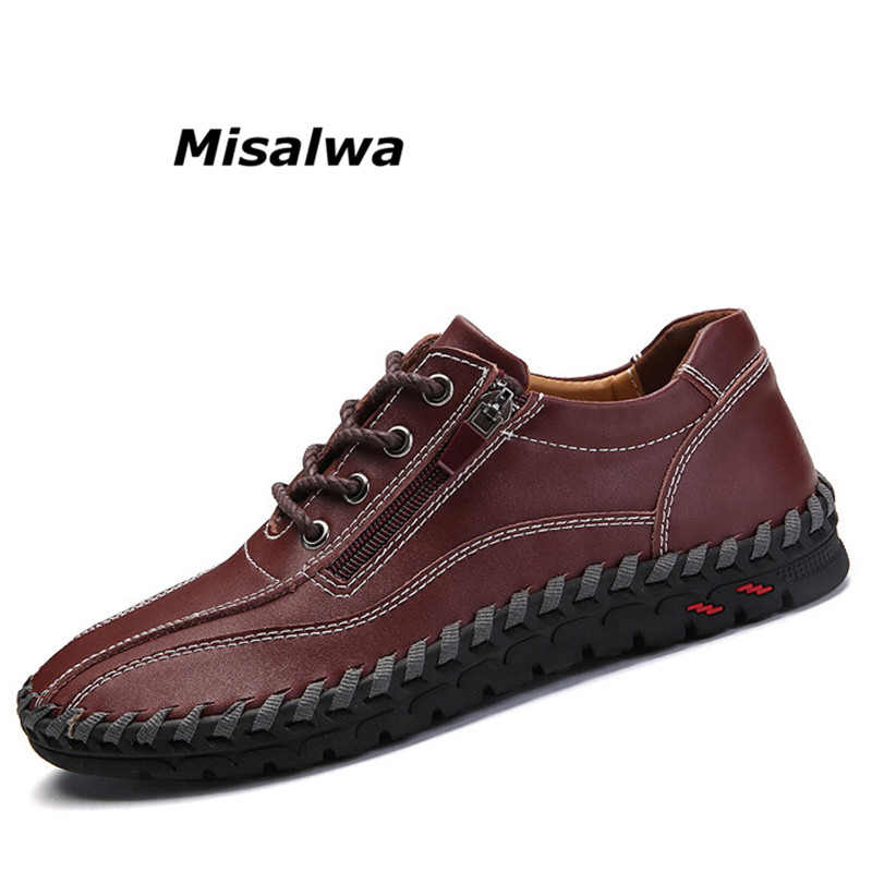 Misalwa New Roman Trend Style Mens Loafers 2018 Brand New Spring Genuine Leather Zipper Casual Men Shoes Designers Moccasins Big