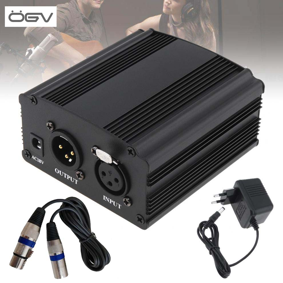 OGV <font><b>48V</b></font> Phantom Power Supply with One XLR Audio Cable and AC110V 220V EU <font><b>Adaptor</b></font> for Condenser Microphone Voice Recording image
