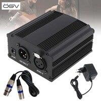 OGV 48V Phantom Power Supply with One XLR Audio Cable and AC110V 220V EU Adaptor for Condenser Microphone Voice Recording