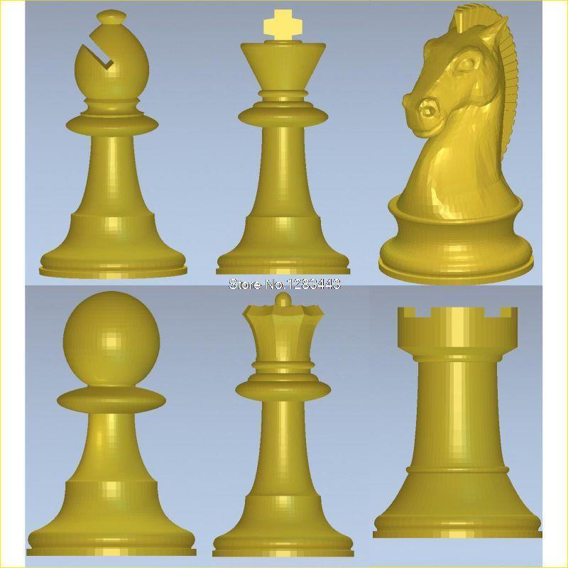 6PCS/LOT International Chess 3D Model For 4 Axis Circular Diagram 3D Carved Sculpture Cnc Machine In STL File