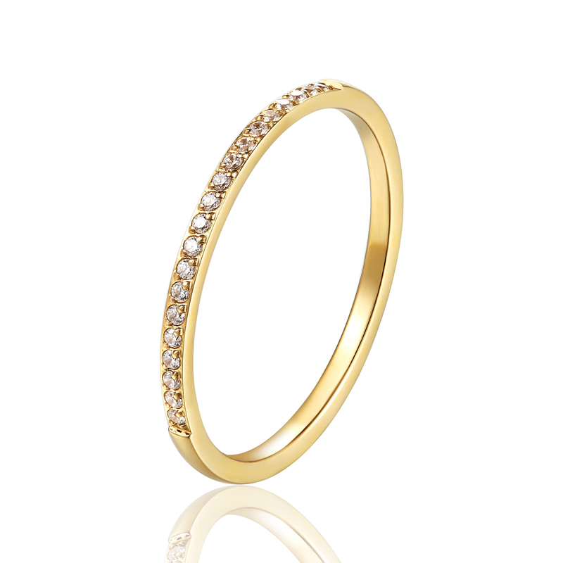 1mm de largura fino acabamento zircão anel para mulheres qualidade superior titânio aço presentes para amantes jóias anel de casamento atacado