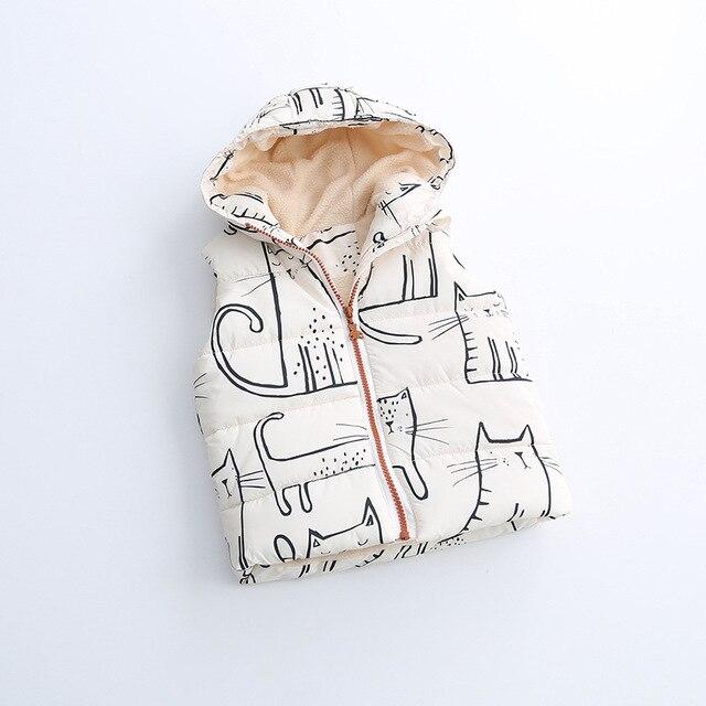 2016 Осень Детские Мальчики Девочки маленькая кошка мультфильм жилет жилет вниз пера хлопка заполнения зимний Жилет оптовая