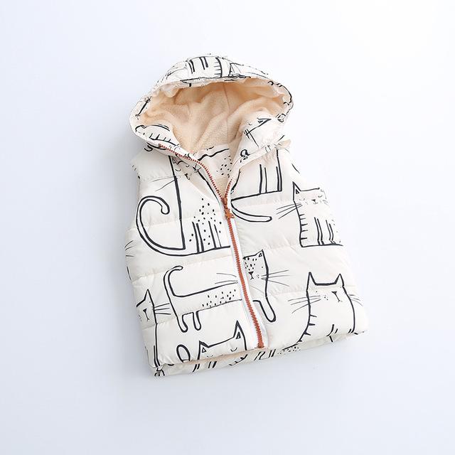 2016 Outono Do Bebê Das Meninas Dos Meninos dos desenhos animados pequeno gato inverno colete colete para baixo enchimento de algodão pluma Colete atacado