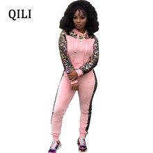 QILI Winter Hot Jumpsuits Women Hoodies Long Sleeve Sequin Patchwork Fashion Jumpsuit 2 Piece Set Velvet Warm S-XXL