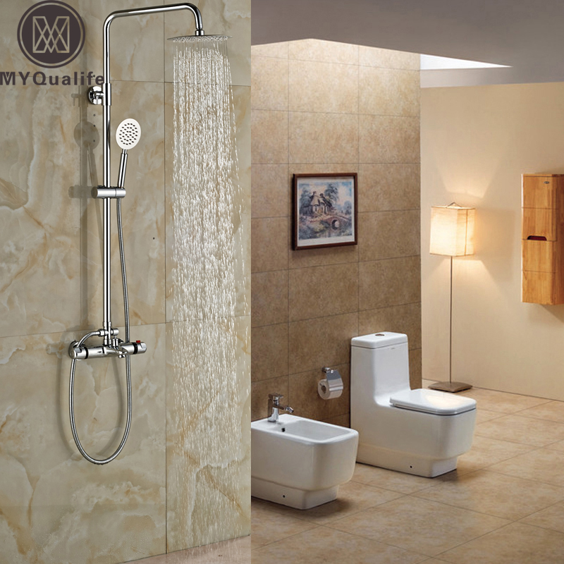 Brass Chrome 8 Rain Shower Set Faucet Dual Handle Thermostatic Bathroom Shower Mixers with Handshower traditional faucet chrome thermostatic bathroom faucets plastic handshower dual holes shower mixer tap