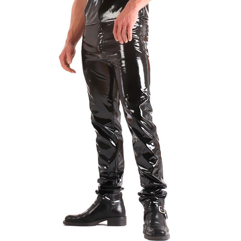 ZOGAA 2019 Men Skinny Faux Leather Leisure Pants Men PU Shiny Pants Male Singers Club Stage Dancer PU Pants Plus Men Joggers