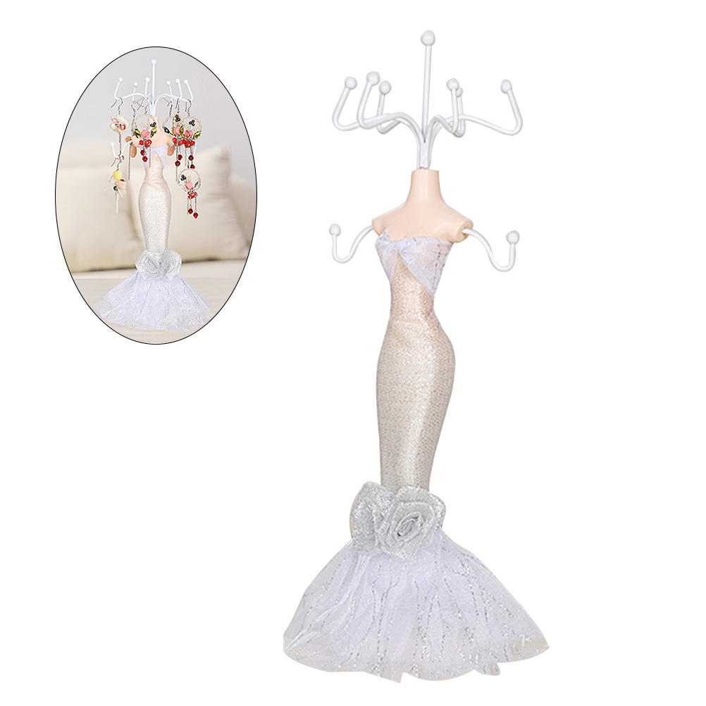 Mermaid Lady Mannequin Jewelry Display Stand Holder Tree Doll Toy Gift 8 Hooks