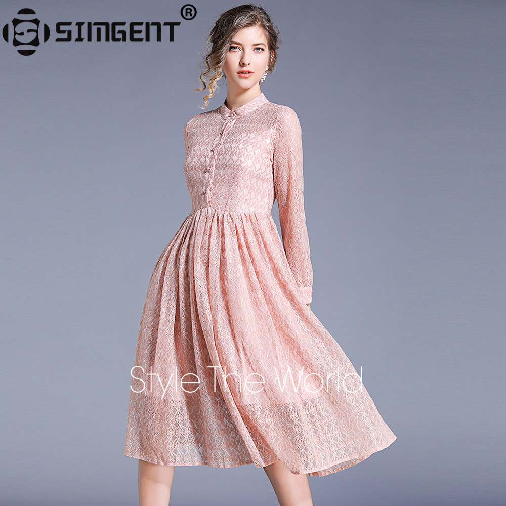 Simgent New Women Fashion Elegant Spring Long Sleeve Stand Collar Midi Lace Dress Woman Clothes 2019 Vestidos Robe Femme SG94125