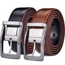 Cinturón de cuero Reversible para hombre, pantalones vaqueros informales con correa de doble cara, cinturón de cuero